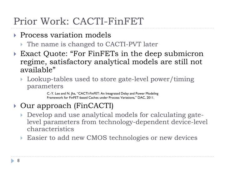 Prior Work: CACTI-FinFET
