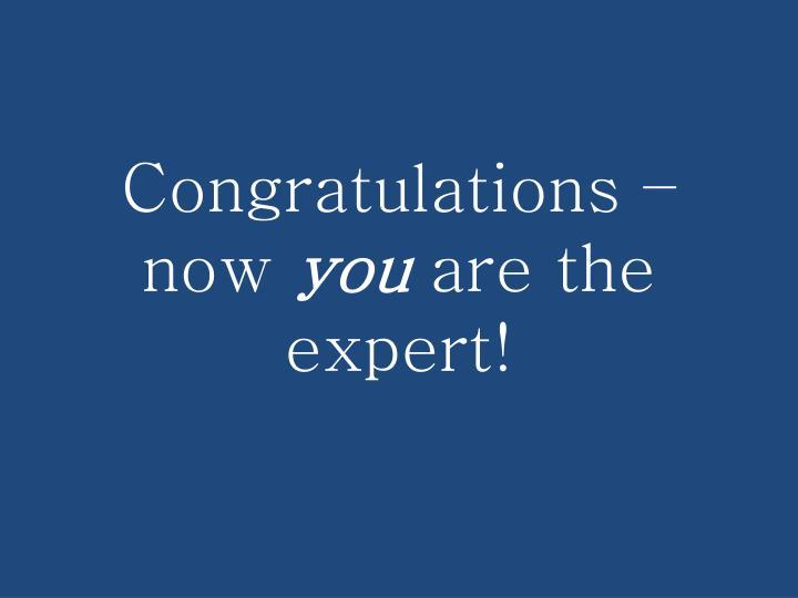 Congratulations – now