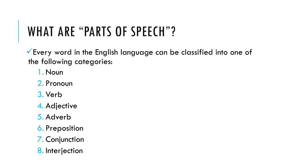 PPT - A Review of the 8 parts of speech PowerPoint