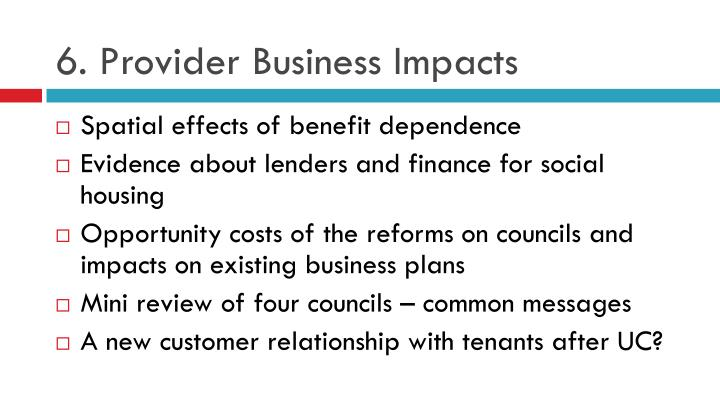 6. Provider Business Impacts