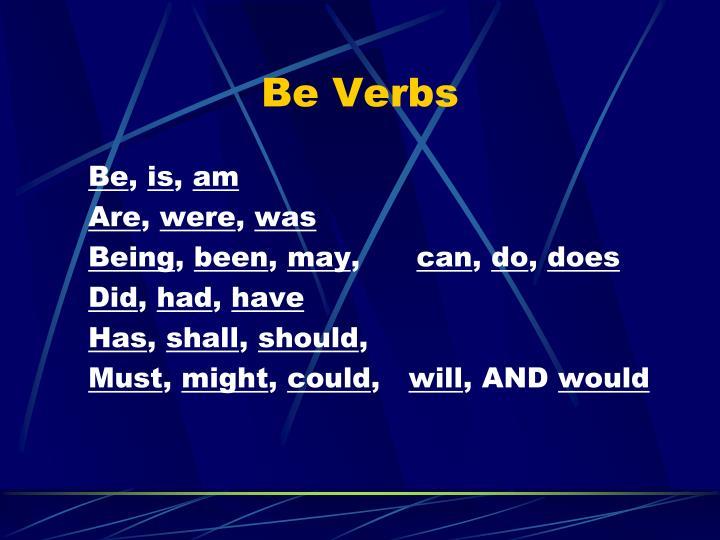 Be Verbs
