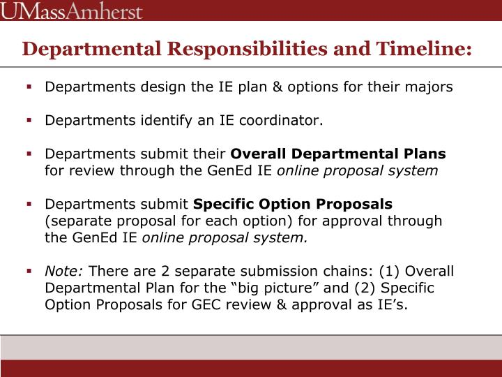 Departmental Responsibilities and Timeline: