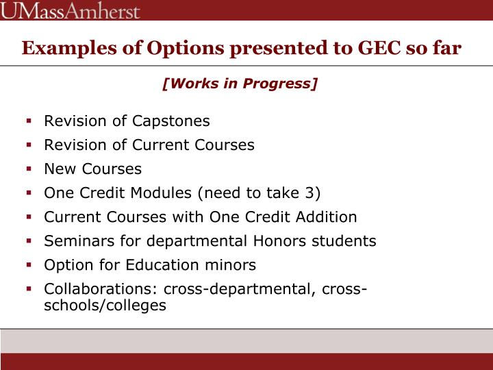 Examples of Options presented to GEC so far