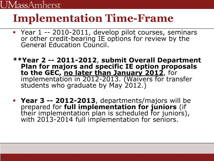 Implementation Time-Frame