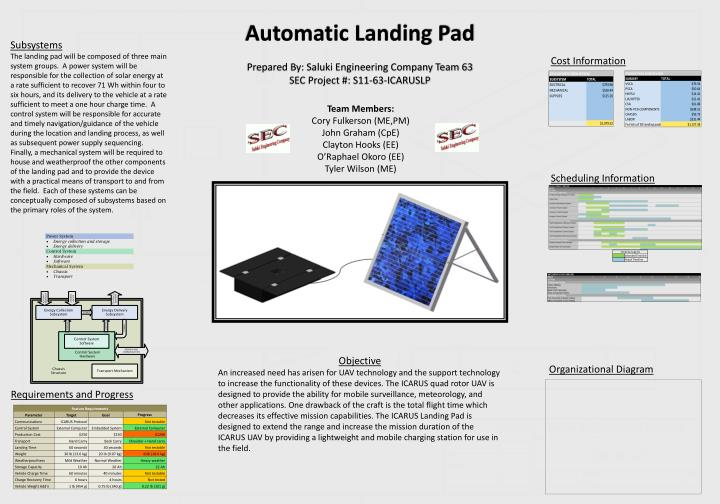 Automatic landing pad prepared by saluki engineering company team 63 sec project s11 63 icaruslp