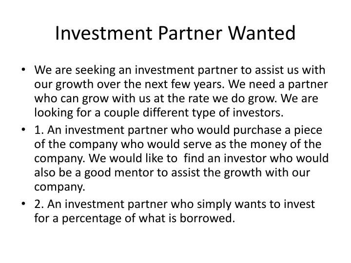 Investment Partner Wanted