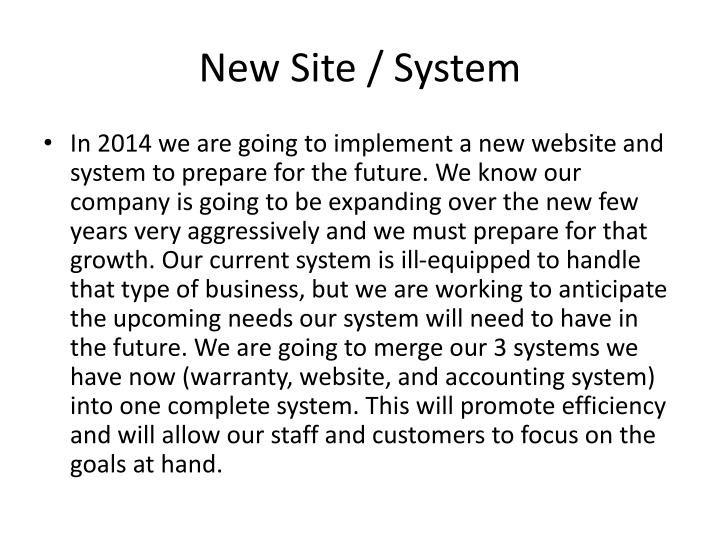 New Site / System