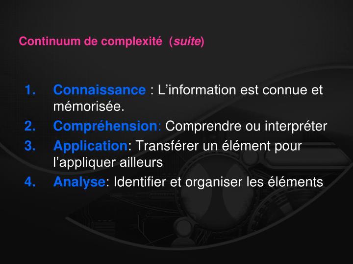 Continuum de complexité  (