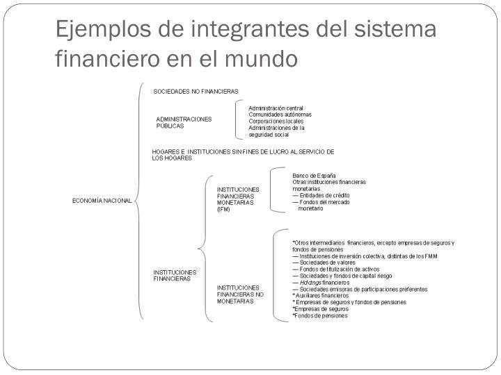 Ejemplos de integrantes del sistema financiero en el mundo