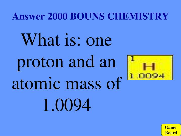 Answer 2000 BOUNS CHEMISTRY