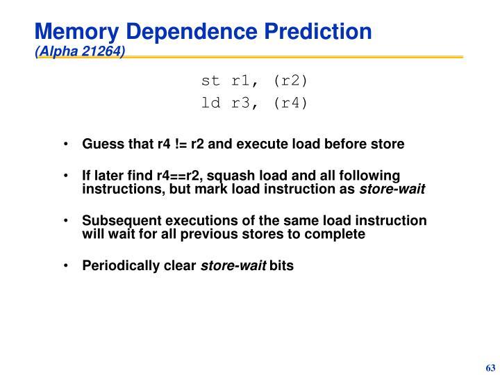 Memory Dependence Prediction