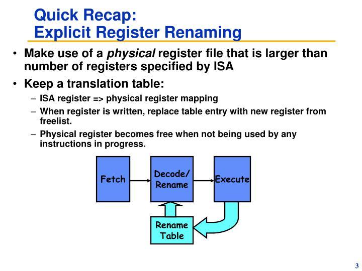 Quick recap explicit register renaming