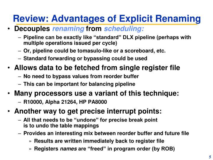 Review: Advantages of Explicit Renaming