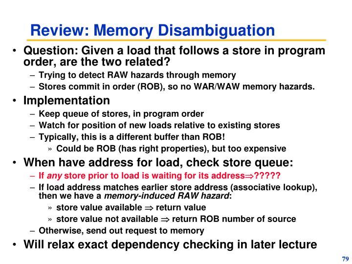 Review: Memory Disambiguation