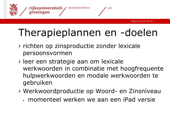 Therapieplannen en -doelen