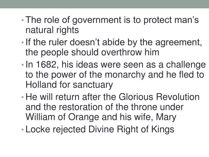 The role of government is to protect man's natural rights