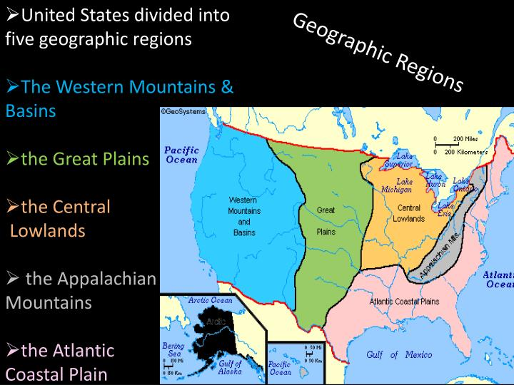 United States divided into five geographic regions