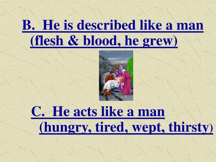 B.  He is described like a man (flesh & blood, he grew)