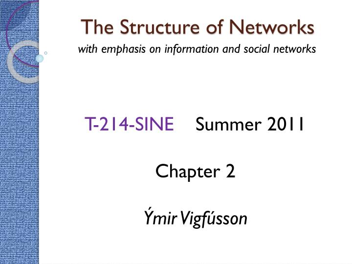 the structure of networks n.