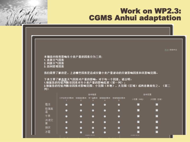 Work on WP2.3: