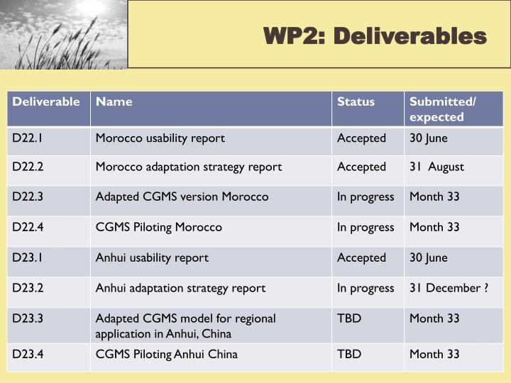 WP2: Deliverables