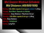 mid season workout schedule mid distance 400 800 1600