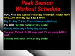peak season workout schedule