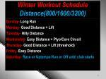 winter workout schedule distance 800 1600 3200