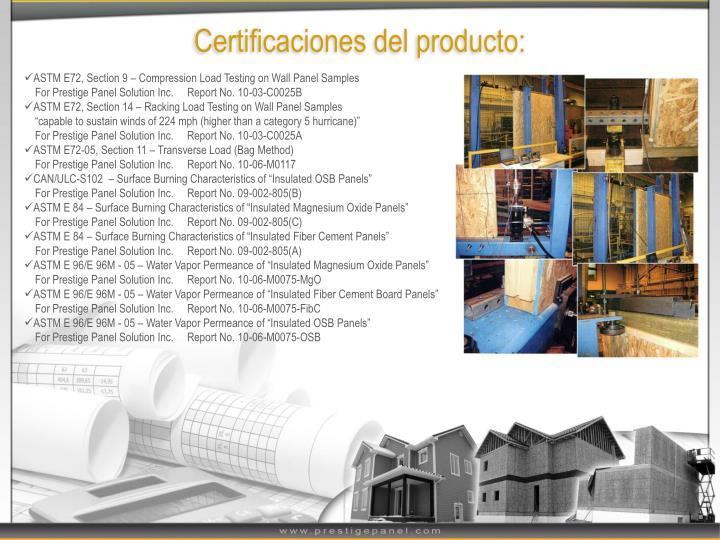 Certificaciones del