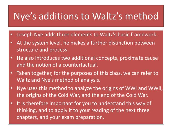 Nye's additions to Waltz's method