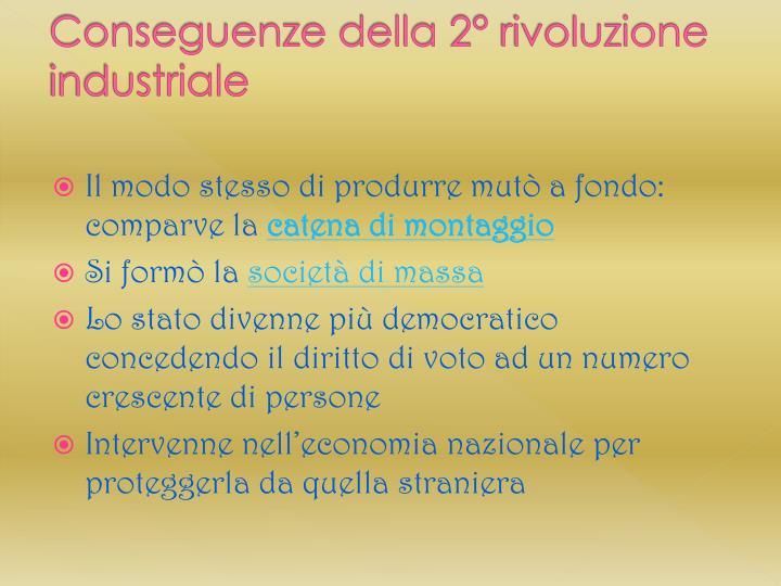 Conseguenze della 2° rivoluzione industriale