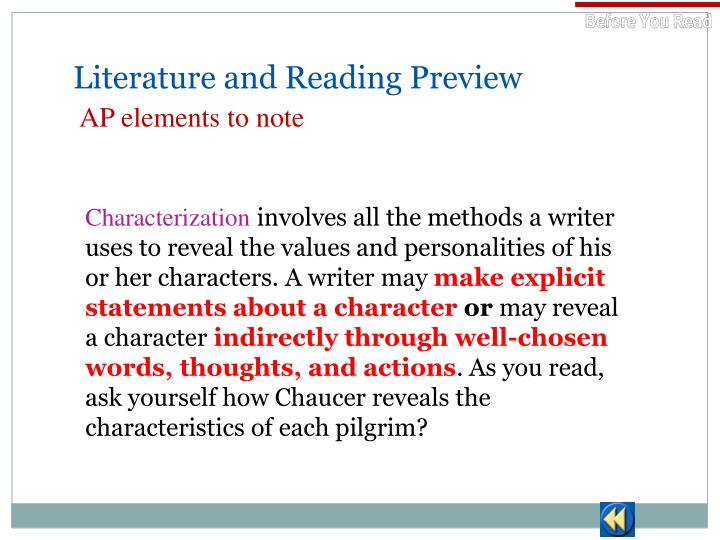 Literature and Reading Preview