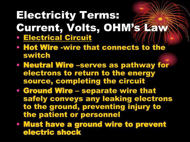 Electricity terms current volts ohm s law