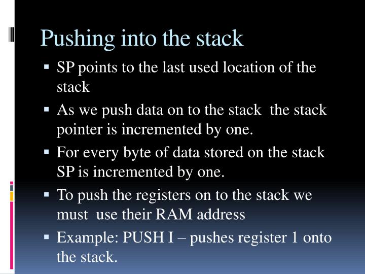 Pushing into the stack