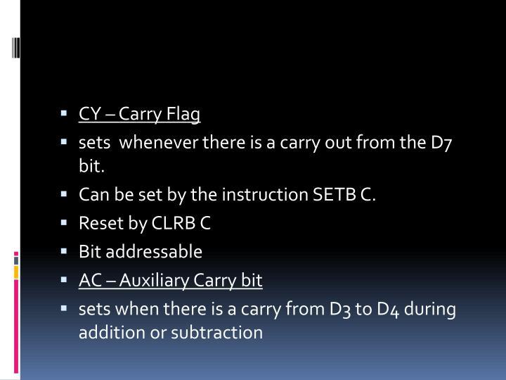 CY – Carry Flag