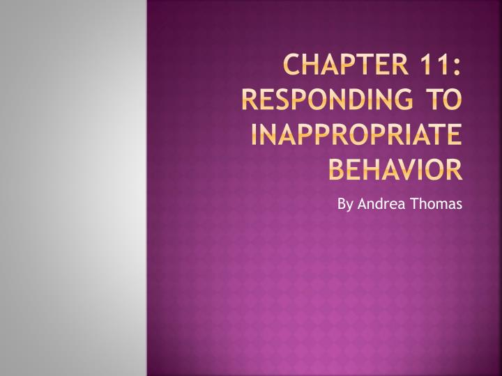 chapter 11 responding to inappropriate behavior n.