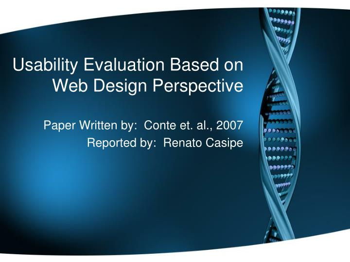 Usability Evaluation Based on Web Design Perspective