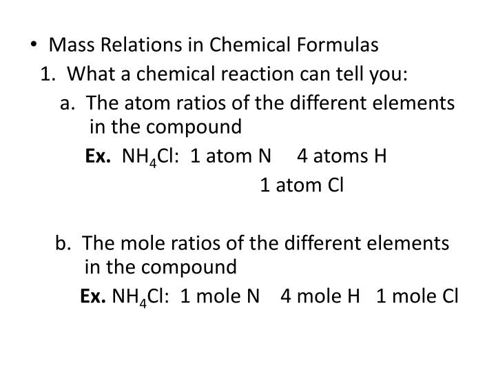 Mass Relations in Chemical Formulas
