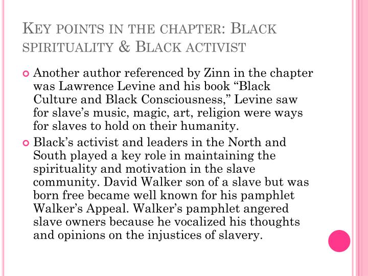 Key points in the chapter: Black spirituality & Black activist