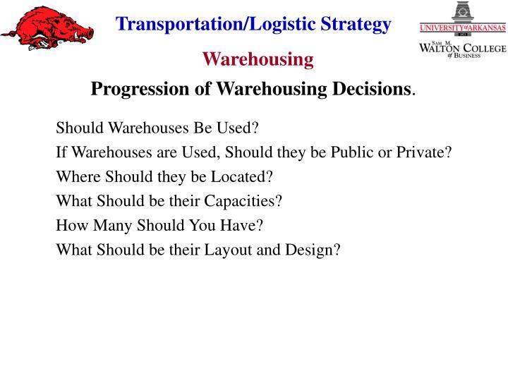 Progression of Warehousing Decisions