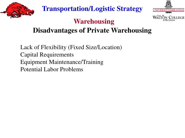 Disadvantages of Private Warehousing