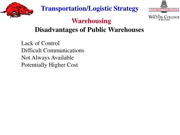 Disadvantages of Public Warehouses