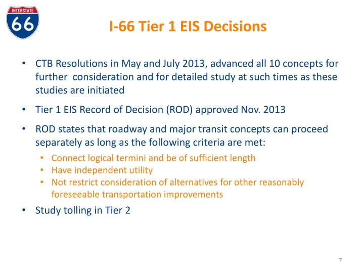 I-66 Tier 1 EIS Decisions