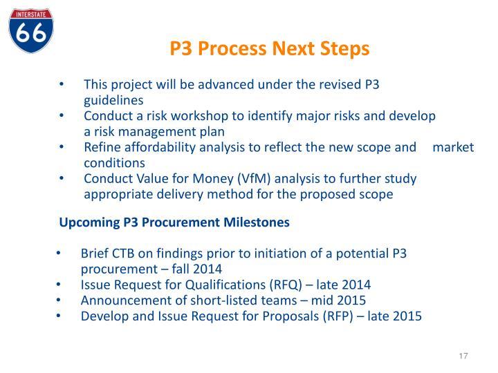P3 Process Next Steps