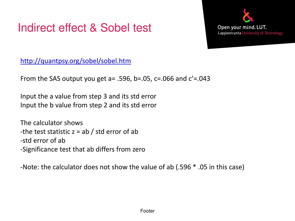 PPT - Testing for mediating and moderating effects with SAS