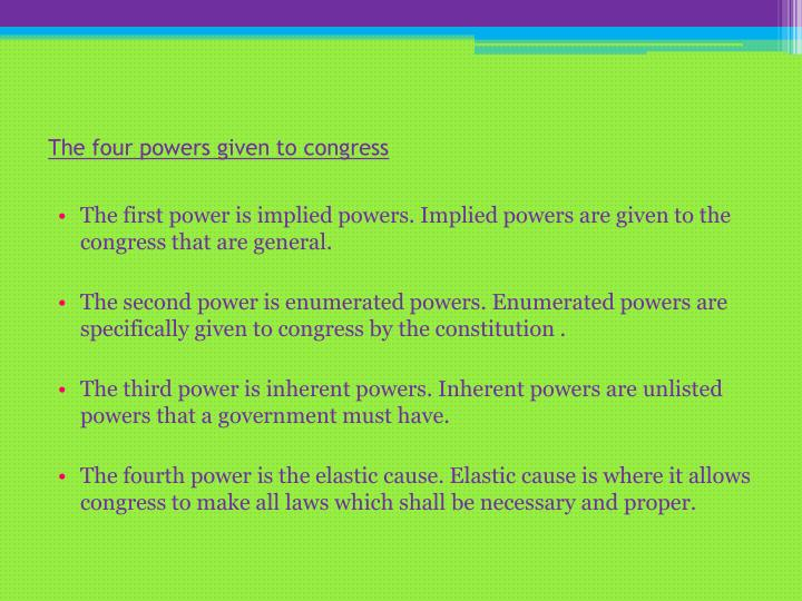 The four powers given to congress