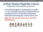 at risk student eligibility criteria includes each student under the age of 26 who