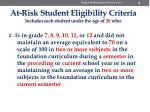 at risk student eligibility criteria includes each student under the age of 26 who1