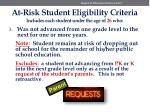 at risk student eligibility criteria includes each student under the age of 26 who2