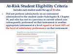 at risk student eligibility criteria includes each student under the age of 26 who3